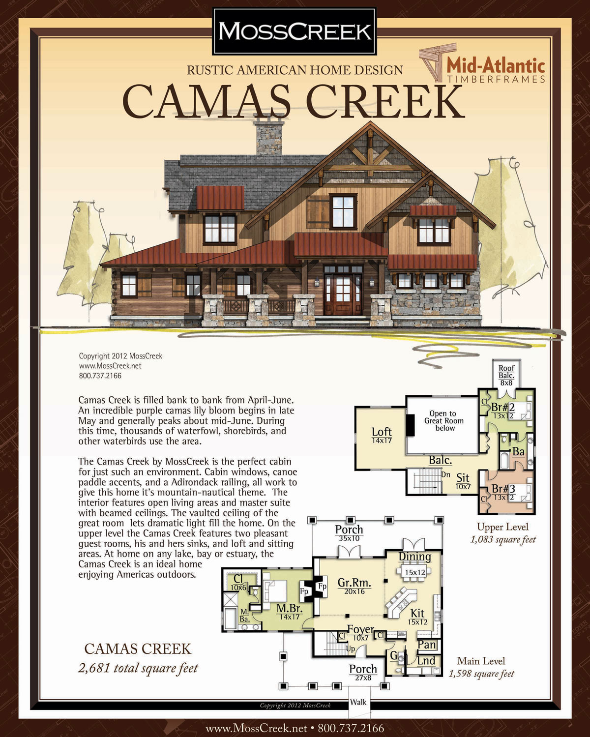 Camas Creek Timber Frame Home Plans