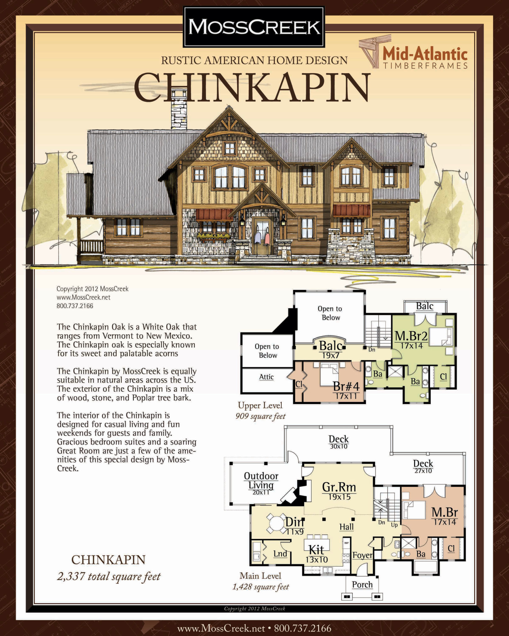 Chinkapin 2 Story Timber Frame Home Plans