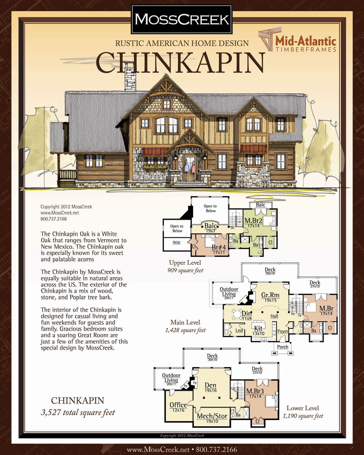 Chinkapin 3-Story Timber Frame Home Plans
