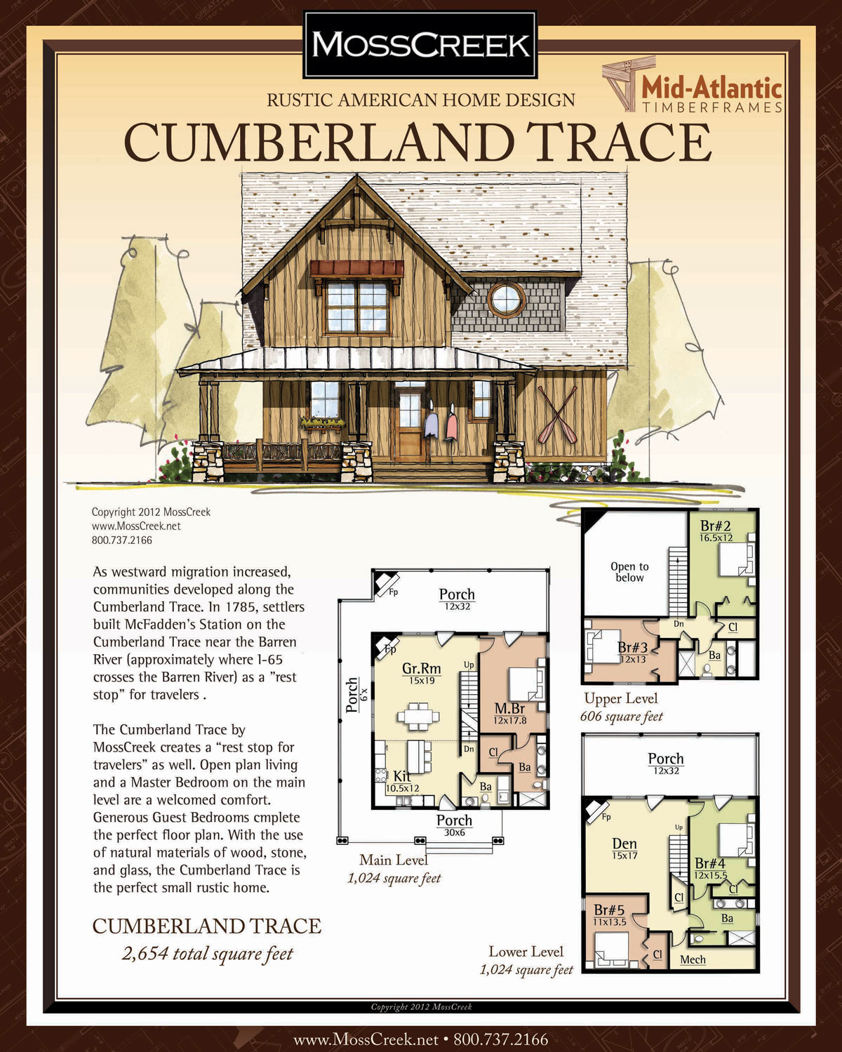 Cumberland Trace 3-Story Timber Frame Home Plans
