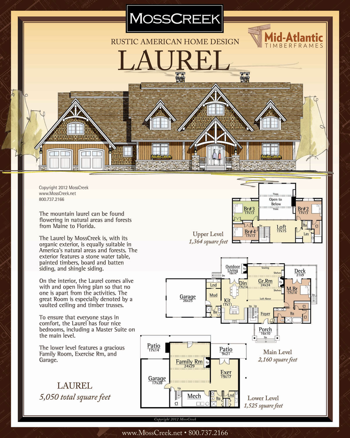 Laurel 3-Story Timber Frame Home Plans