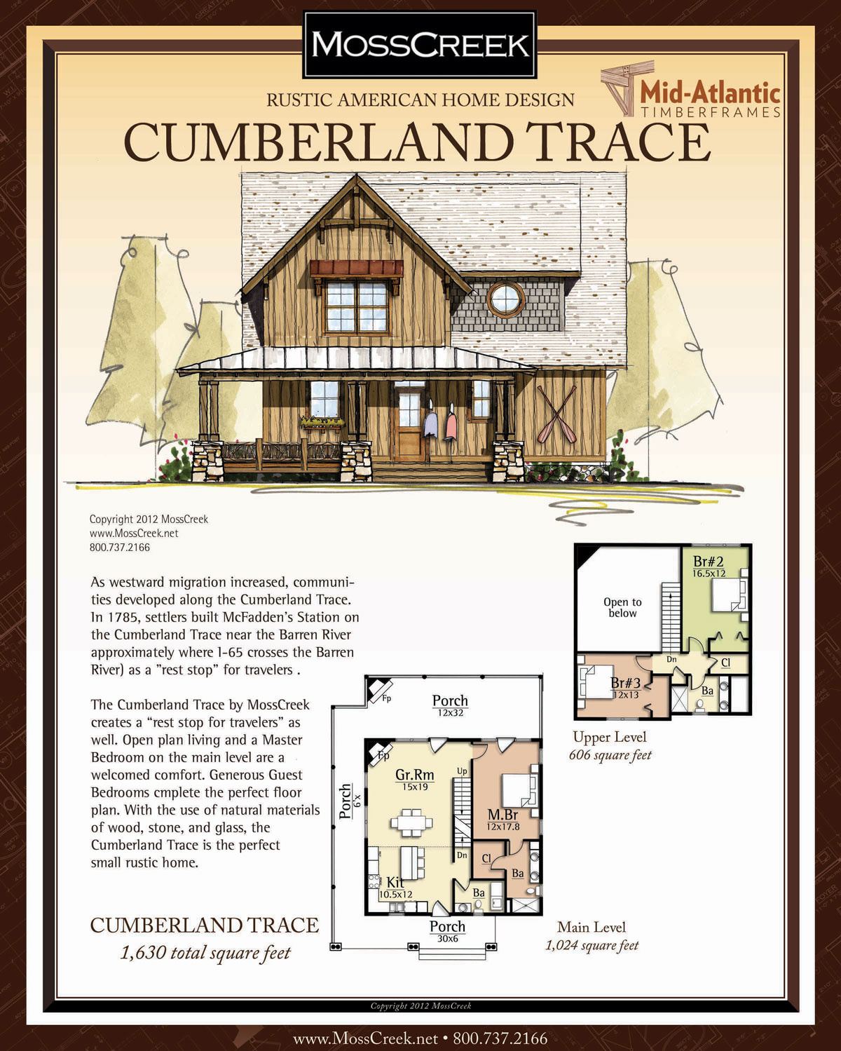 Cumberland Trace 2 Story Timber Frame Home Plans
