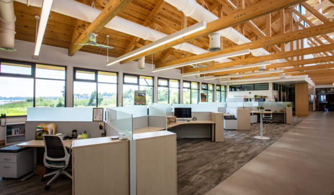 yellow pine glulam beams in office space in chestertown maryland