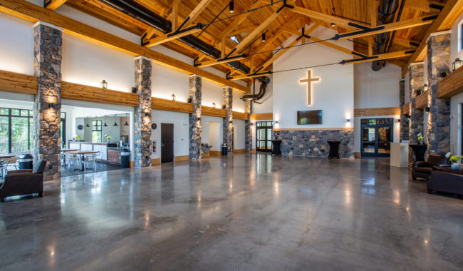 timber frame trusses used in the ceiling of church in delaware