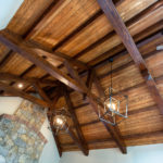 douglas fir trusses with ceiling fan and lights mendam nj home