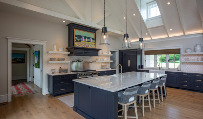 breakfast nook with granite countertops and navy colored counters