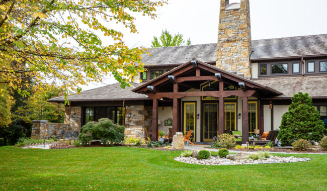 timber frames used on large home in villanova pa